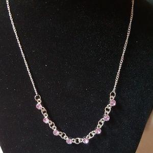 Dainty Silver Necklace w/ Light Purple Rhinestones
